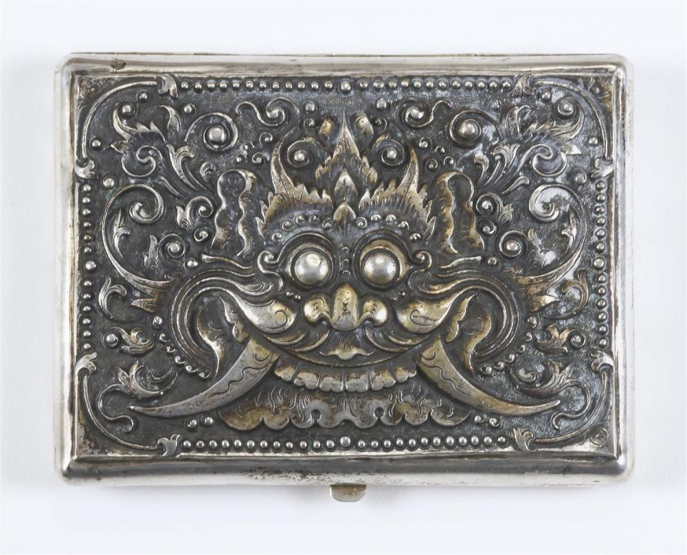"INDONESIAN .800 FINE SILVER CIGARETTE BOX With repoussé demon design. Length 4.1""."