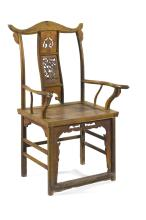 Lot 1023: CHINESE ELMWOOD ARMCHAIR With traces of later yellow paint. Backsplat with openwork figural landscape design. Carved returns. Back h...