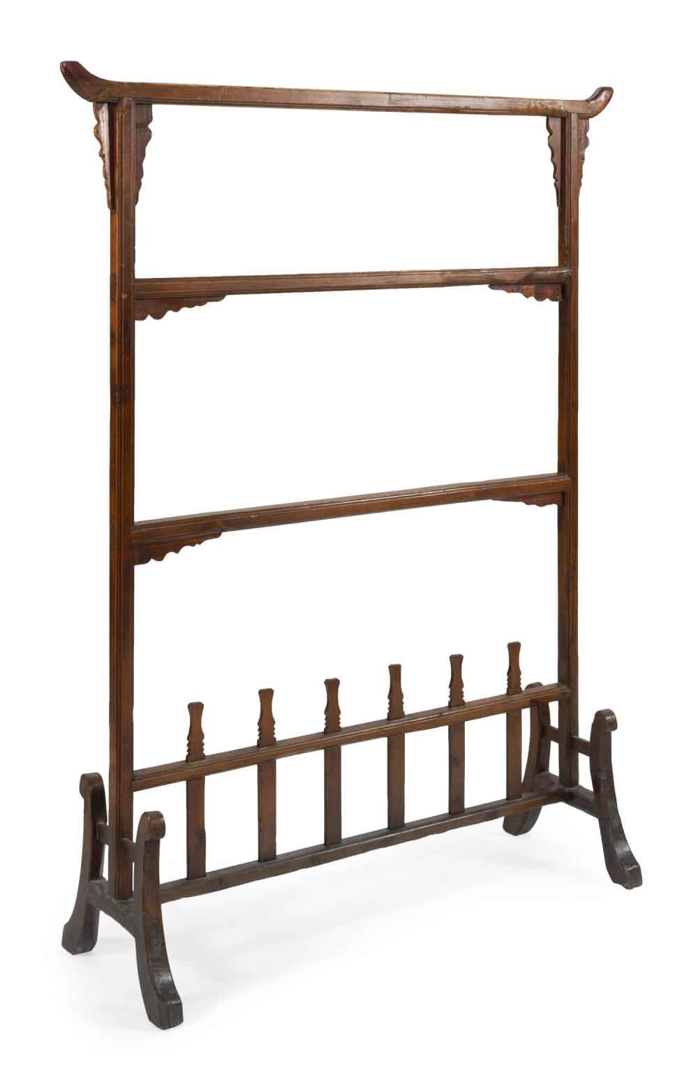 "CHINESE CARVED WOOD CLOTHES RACK Openwork lattice base with curved legs. Height 61"". Width 46.5"". Depth at base 15""."