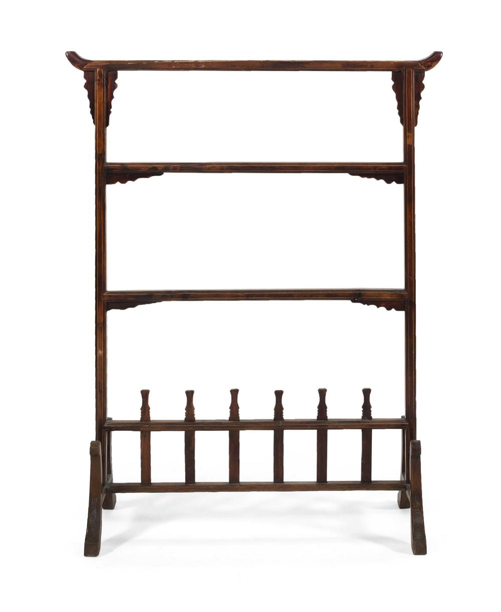 """Lot 1025: CHINESE CARVED WOOD CLOTHES RACK Openwork lattice base with curved legs. Height 61"""". Width 46.5"""". Depth at base 15""""."""