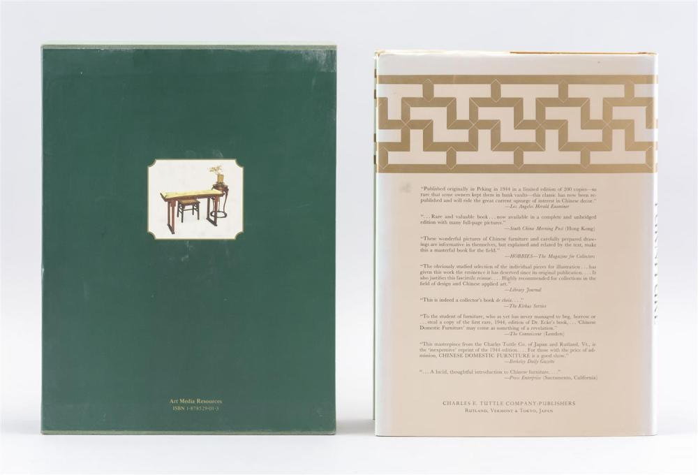 Lot 1026: THREE TITLES RELATING TO CHINESE FURNITURE Connoisseurship of Chinese Furniture by Wang, Vols. 1 and 2, and Chinese Domestic Furnitu...
