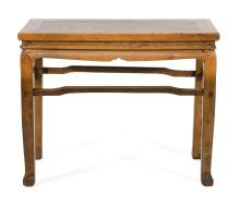 "Lot 1029: CHINESE ELMWOOD ALTAR TABLE With a shaped apron. Height 33"". Width 39"". Depth 19""."