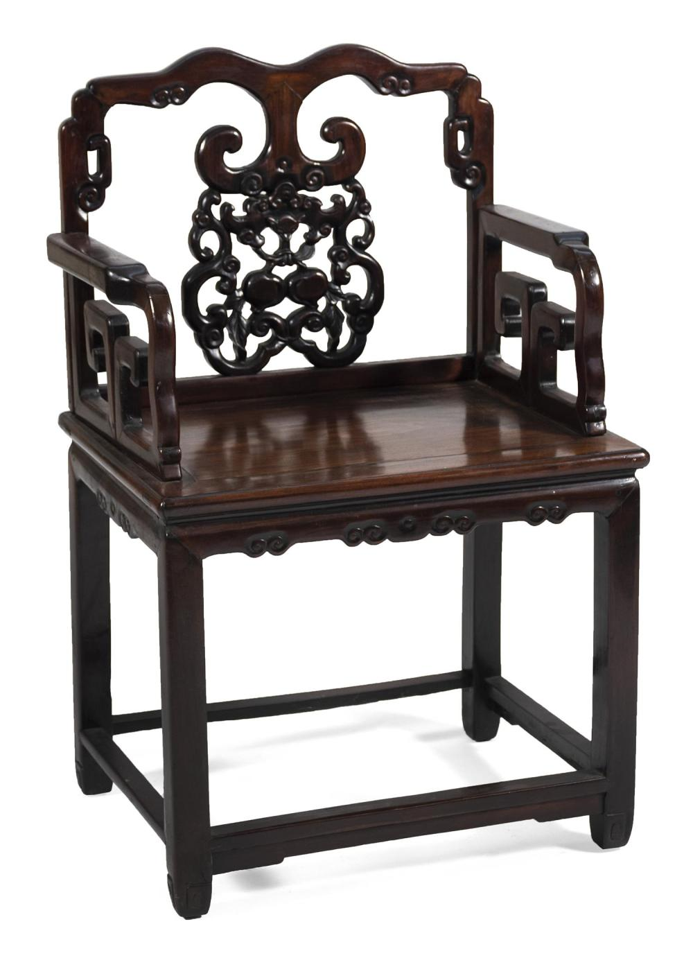 "CHINESE CARVED ROSEWOOD ARMCHAIR Backsplat with openwork bat and fruit design. H-stretcher base. Back height 40"". Seat height 21"". W..."