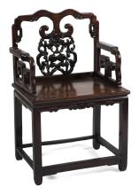 "Lot 1031: CHINESE CARVED ROSEWOOD ARMCHAIR Backsplat with openwork bat and fruit design. H-stretcher base. Back height 40"". Seat height 21"". W..."