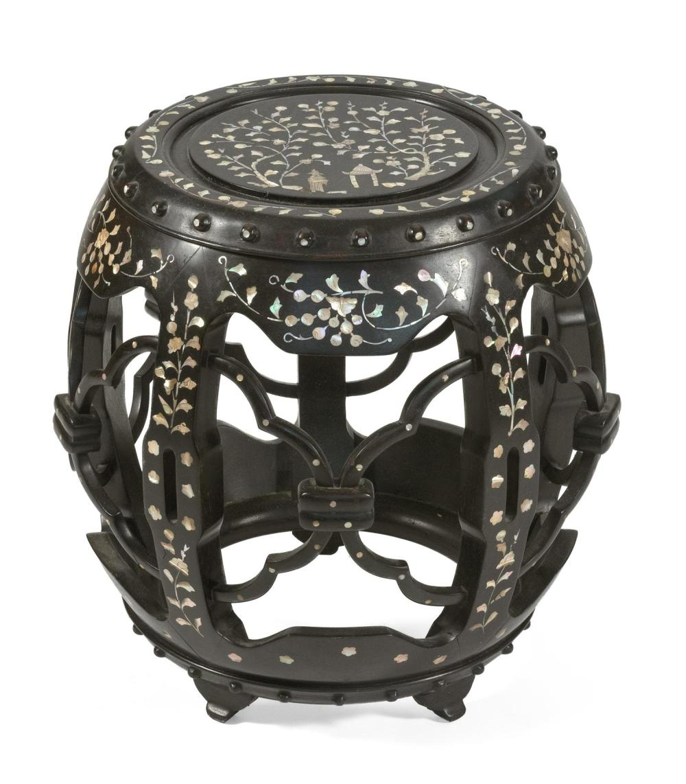 "CHINESE MOTHER-OF-PEARL INLAID BLACKWOOD GARDEN BARREL In drum form, with open sides and a floral design. Height 20""."