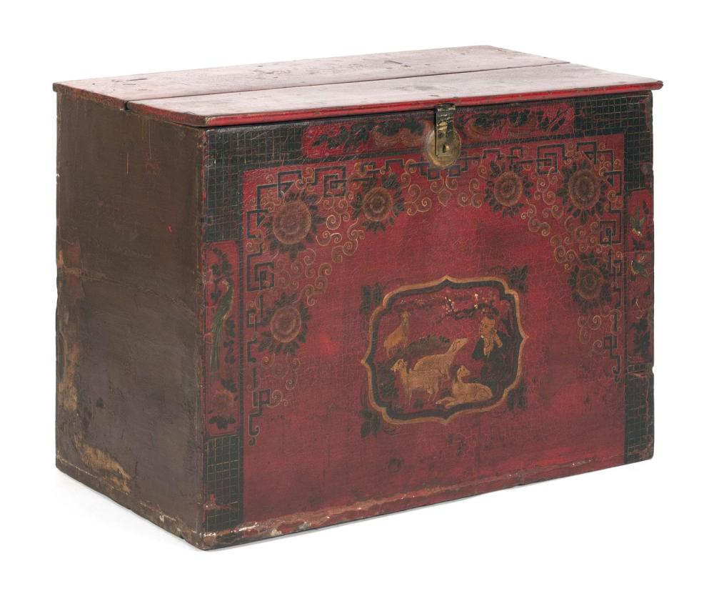 MONGOLIAN RED PAINTED LIFT-TOP STORAGE TRUNK Front with central decoration of a figure and sheep in a landscape. Brass lock and lock...