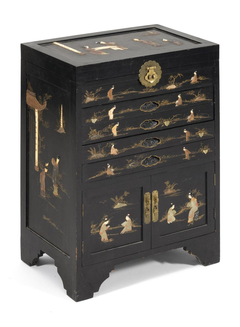 CHINESE PIETRA DURA ON BLACK LACQUERED WOOD SILVER CABINET With four drawers over a two-door cupboard. Top decorated with figures in...