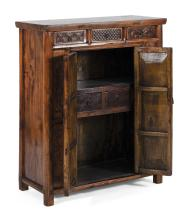 Lot 1035: CHINESE ROSEWOOD CUPBOARD With three carved drawers over a two-door cabinet that opens to reveal two interior shelves separated by t...