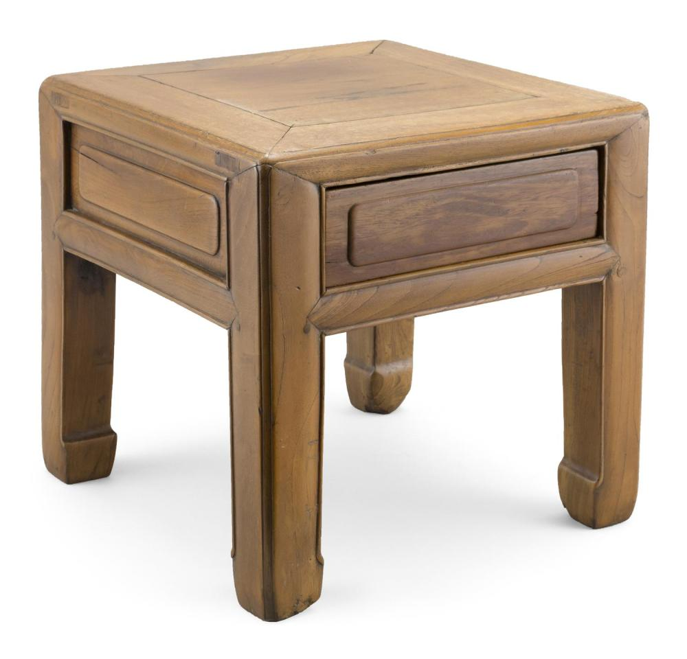 "CHINESE ELMWOOD ONE-DRAWER LOW TABLE/STAND Height 13"". Top 13"" x 12""."