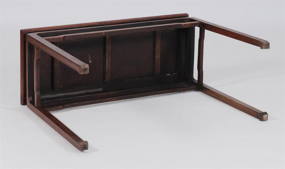 Lot 1038: CHINESE HUANGHUALI CORNER-LEG TABLE With open stretcher apron and in-turned feet. Dramatically grained with distinctive knot marking...