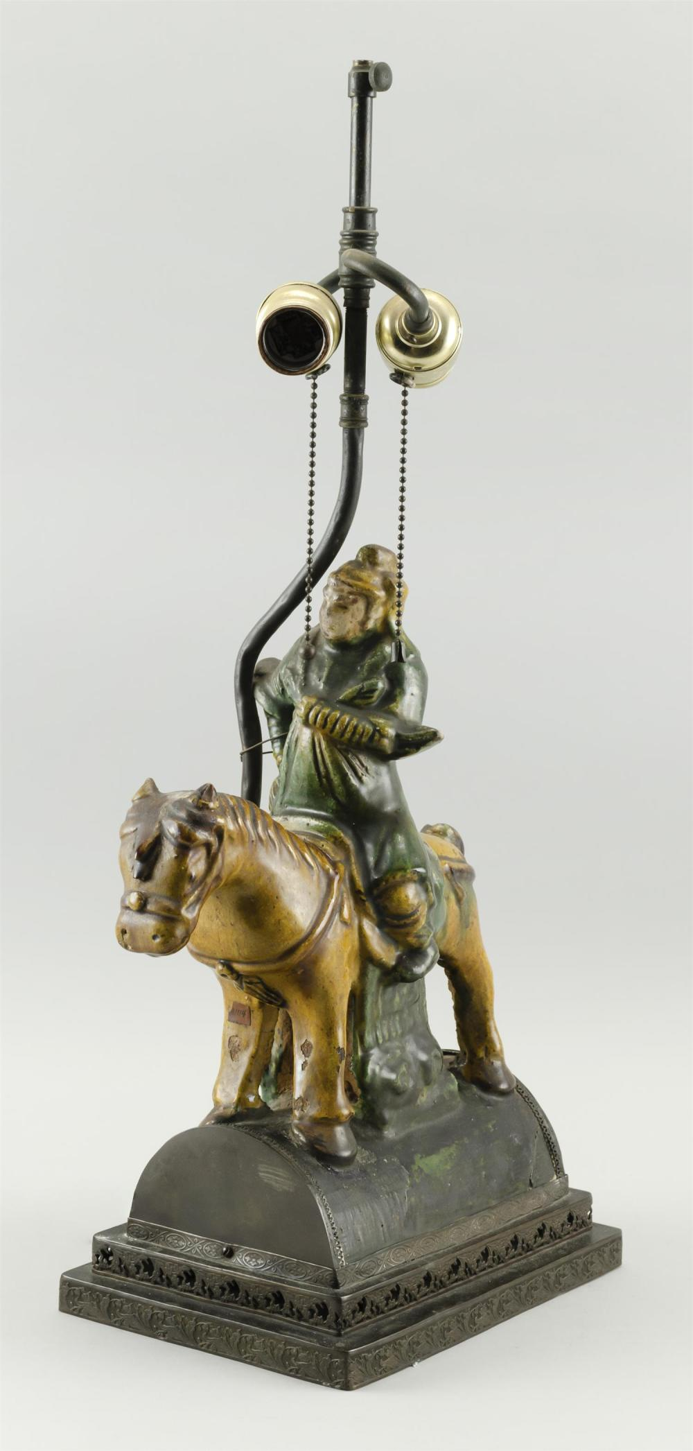 "CHINESE MING ROOF TILE In the form of a horse. Mounted on a stone base. Height 14"". Mounted as a table lamp."