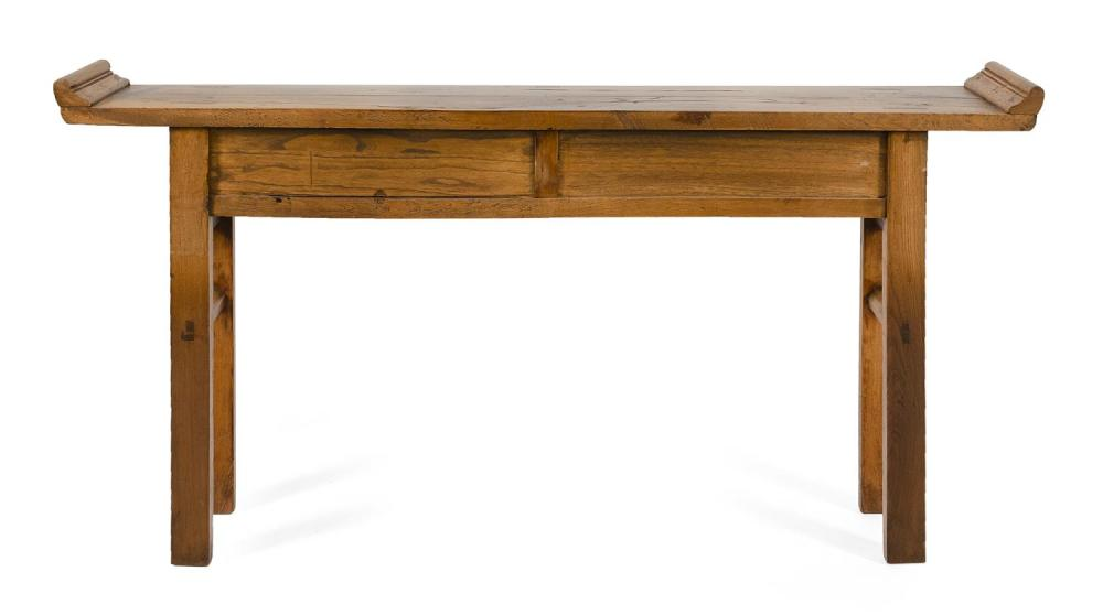 Lot 1048: CHINESE ELMWOOD ALTAR TABLE Top constructed from two boards conjoined with three dutchmen. Apron fitted with four side-by-side drawe...