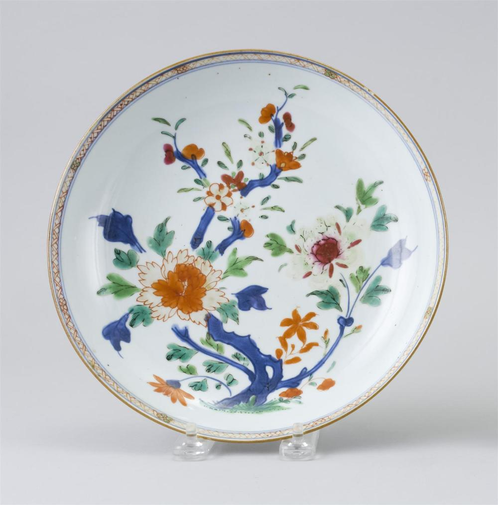 "CHINESE EXPORT PORCELAIN PLATE In a polychrome floral pattern. Diameter 8.6""."