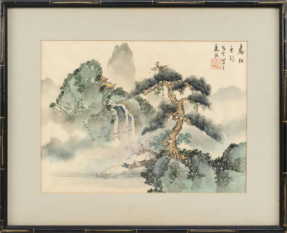 "CHINESE PAINTING ON SILK Depicting boatmen on a river. Signed and seal marked. 11"" x 14.5"". Framed 17"" x 20.5""."