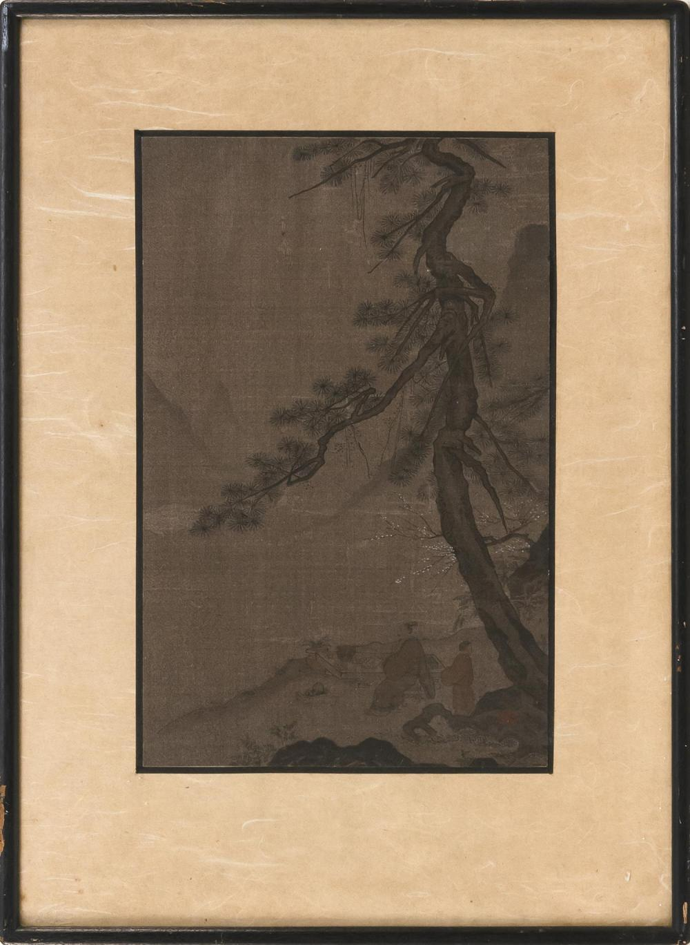 "KOREAN PRINT ON PAPER After an earlier example, depicting sages beneath a pine tree. 12"" x 8"". Framed 18"" x 13""."