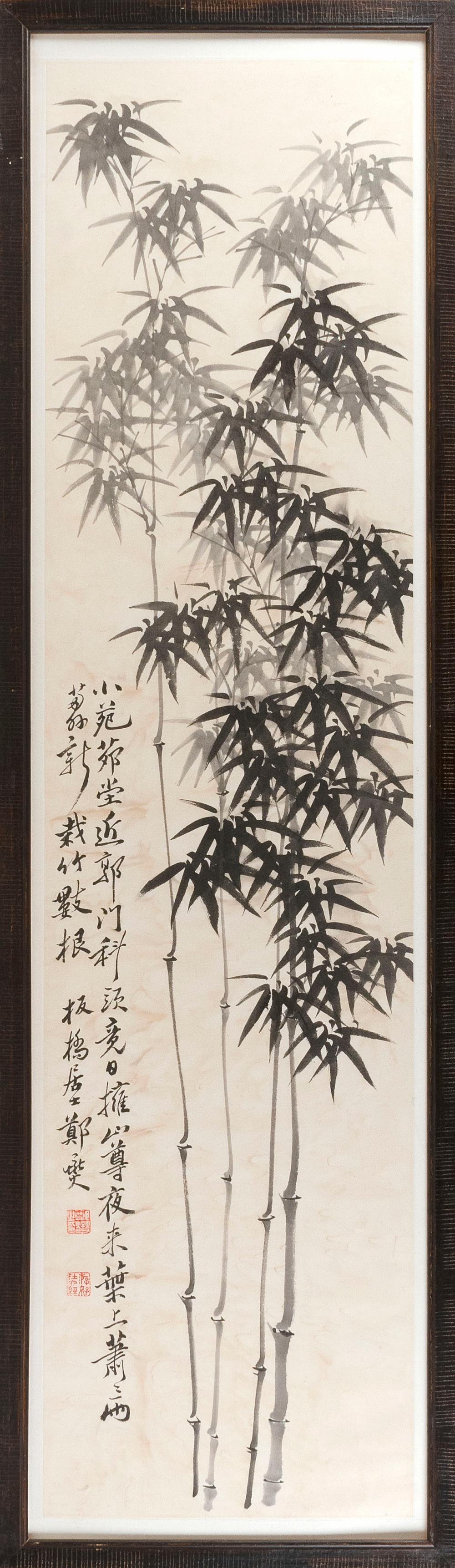 "CHINESE PAINTING ON PAPER Depicting bamboo. Marked with calligraphy and two seal marks. 53.5"" x 13.5"". Framed."