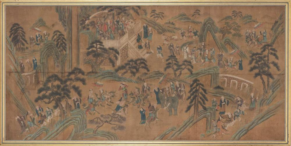 LARGE FRAMED CHINESE PAINTING ON CANVAS Depicting multiple figures in various pursuits in a mountainous landscape. Two-character sig...