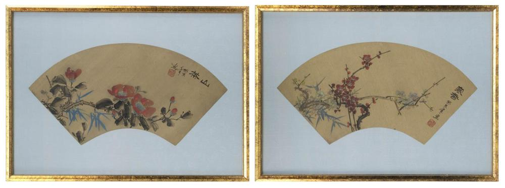 "PAIR OF CHINESE FAN PAINTINGS Depicting flowering tree branches and calligraphy. On gilt paper. Both 7"" x 14"". Framed 14.5"" x 20""."