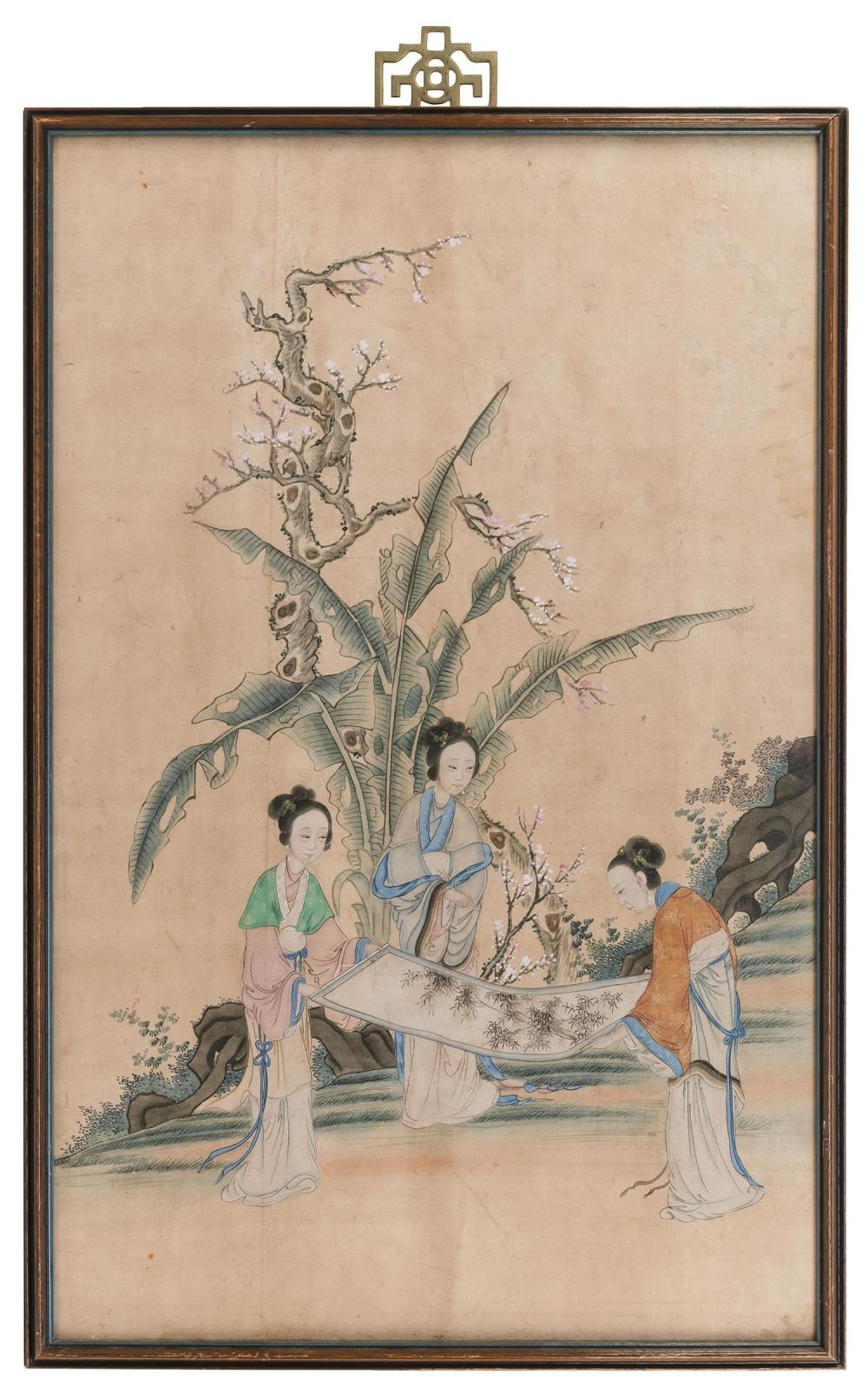 "CHINESE PAINTING ON SILK Depicting three ladies examining a scroll. 33.25"" x 20.5"". Framed."
