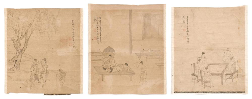 "SET OF THREE CHINESE DRAWINGS ON PAPER Depicting the poet Li Tai Po in various scenes. Each marked with calligraphy. Each 10.5"" x 9""..."