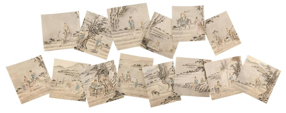 "THIRTEEN CHINESE POLYCHROME SKETCHES ON PAPER Depicting sages and other figures in landscape settings. Each approximately 10"" x 9.5""..."