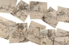 """Lot 1071: THIRTEEN CHINESE POLYCHROME SKETCHES ON PAPER Depicting sages and other figures in landscape settings. Each approximately 10"""" x 9.5""""..."""