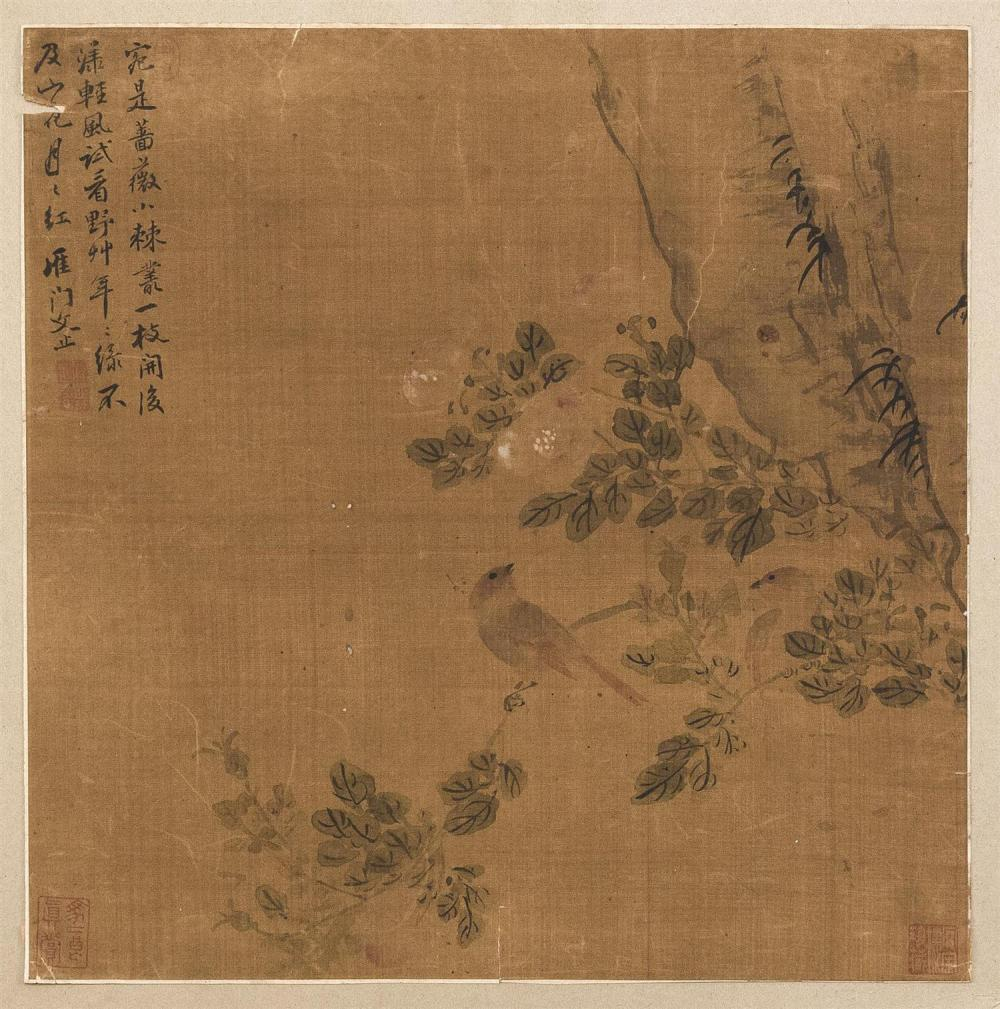 CHINESE ALBUM PAINTING ON SILK Attributed to Wen Ting. Depicting two birds and flowering tree branches. Marked with calligraphy and...