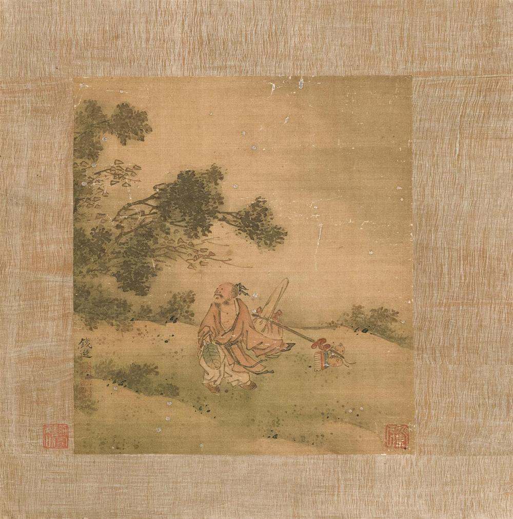CHINESE ALBUM PAINTING ON SILK Attributed to Chien Houan. Depicting a sage observing wind blowing tree branches. Marked with four se...