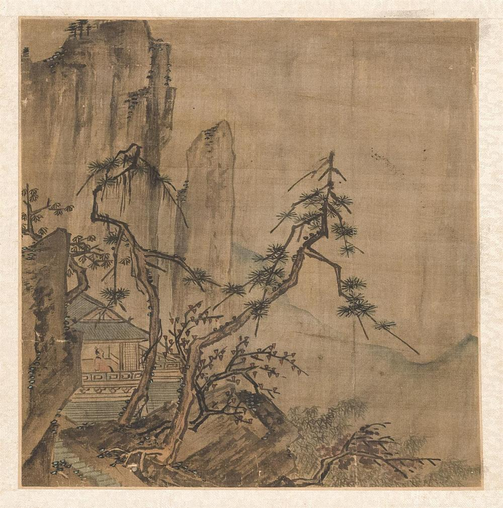 "MOUNTED ALBUM PAINTING After Ma Yuan. Depicting a scholar seated in a tea house surrounded by trees and mountains. 8.5"" x 8"". Ex Col..."
