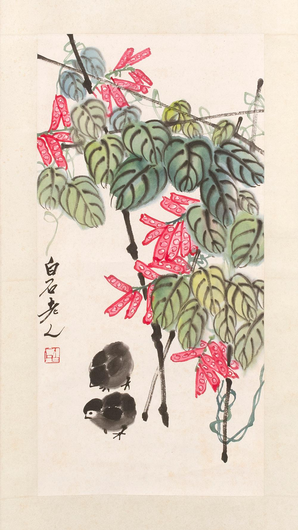 "SCROLL PAINTING ON PAPER After Qi Baishi. Depicting chicks and peas. Marked with signature and seal mark. 13"" x 26.25""."