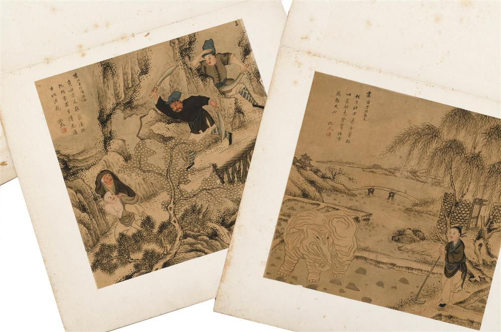 SET OF FOUR CHINESE ALBUM PAINTINGS ON PAPER Depicting historical personages including Tseng Shen seated and observing a farmer, Kia...