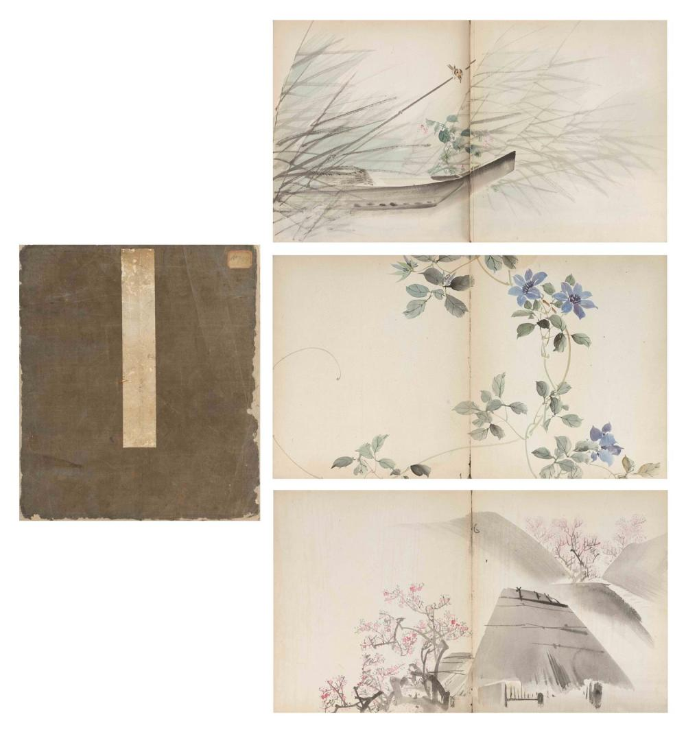 "CHINESE PAINTING ALBUM Contains twenty-two paintings of birds, flowers, insects and landscape scenes. Each 12"" x 21""."