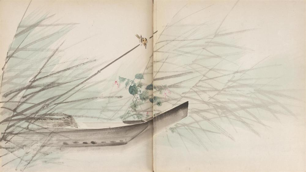 "Lot 1079: CHINESE PAINTING ALBUM Contains twenty-two paintings of birds, flowers, insects and landscape scenes. Each 12"" x 21""."