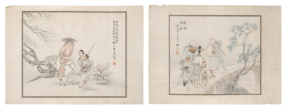 PAIR OF CHINESE ALBUM PAINTINGS ON PAPER One depicting Guandi conversing with a woman who is accompanied by demons and the other dep...