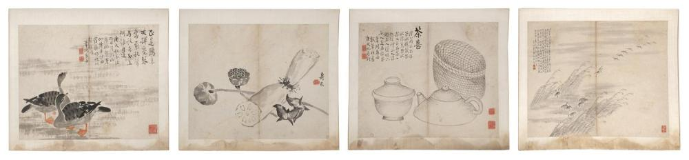 FOUR CHINESE ALBUM PAINTINGS By various artists. Depicting geese with vegetables, geese in flight, seed pods, and a basket with tea...