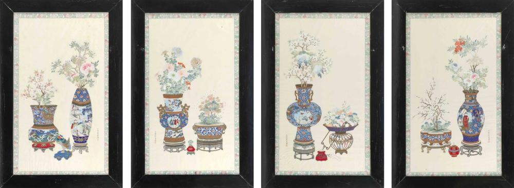 "SET OF FOUR PAINTINGS ON SILK Depicting finely rendered vases of flowers. 31.5"" x 17.25"". Framed 39"" x 25""."