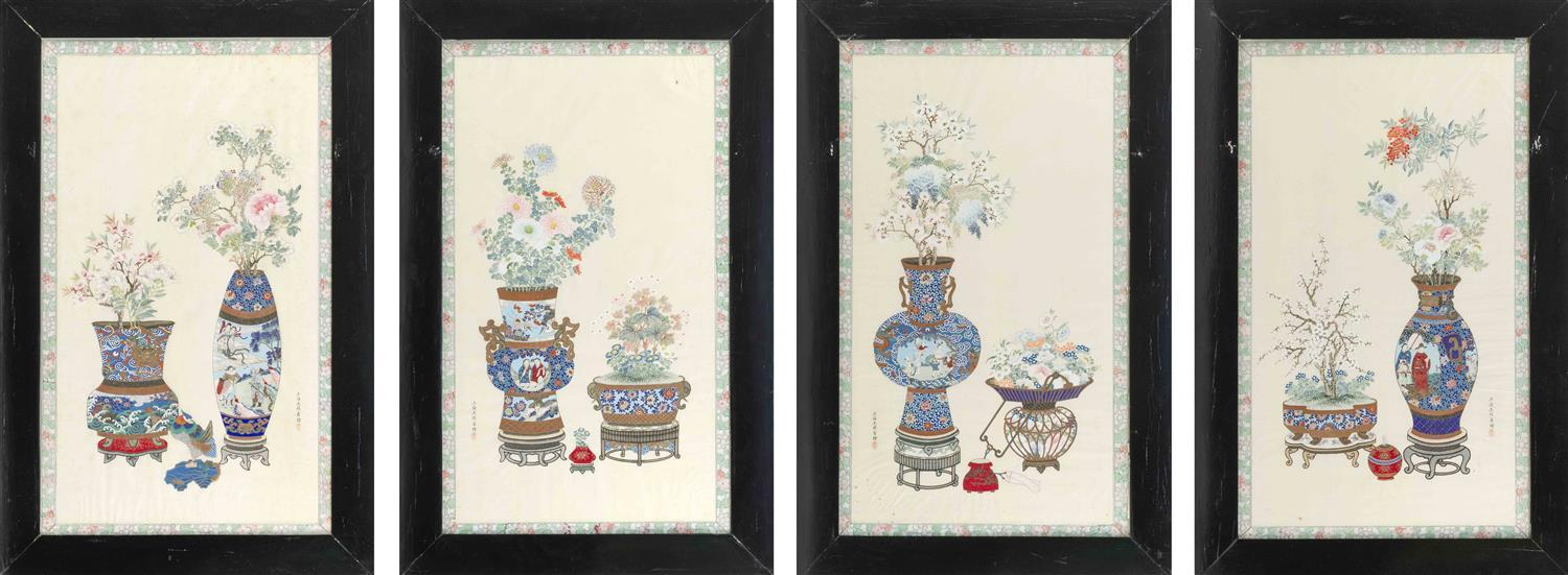 """SET OF FOUR PAINTINGS ON SILK Depicting finely rendered vases of flowers. 31.5"""" x 17.25"""". Framed 39"""" x 25""""."""