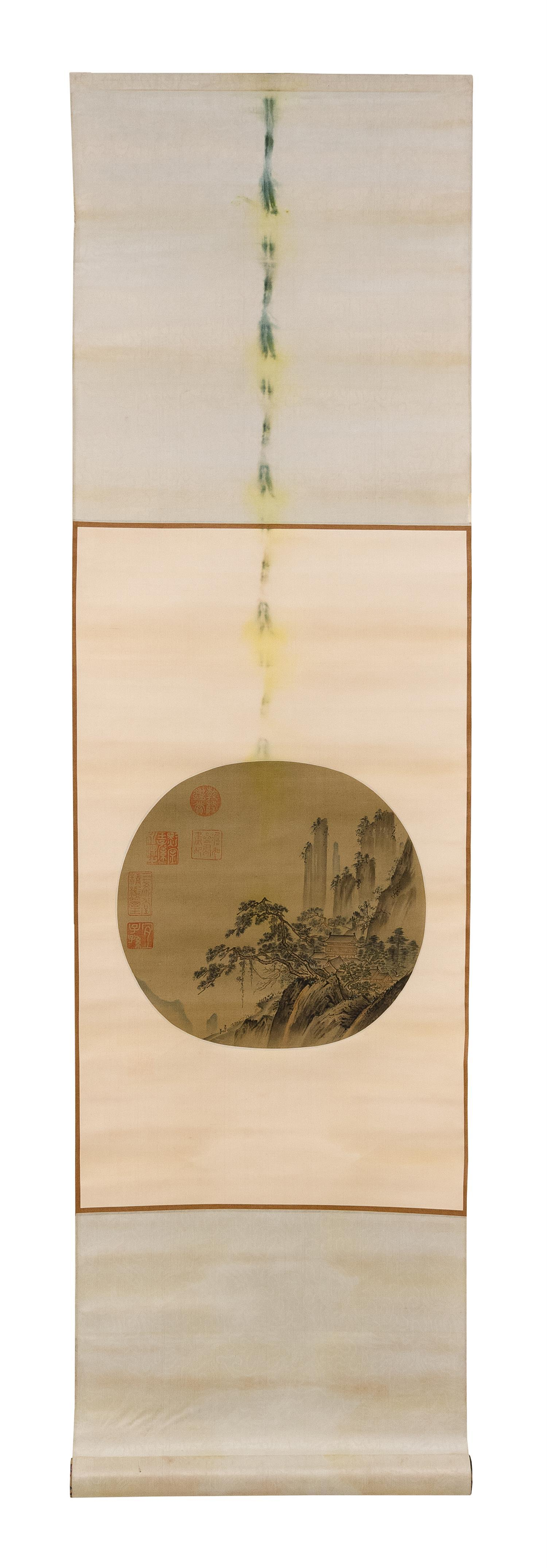 CHINESE SCROLL-MOUNTED FAN PAINTING Depicting a mountain retreat and travelers. Marked with five seal marks. Roughly circular, diame...