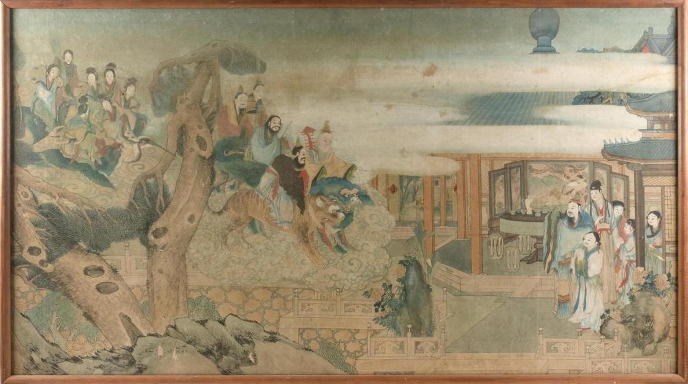 "CHINESE PAINTING ON PAPER Depicting a noble family being visited by a host of Immortals. 36"" x 65"". Framed."