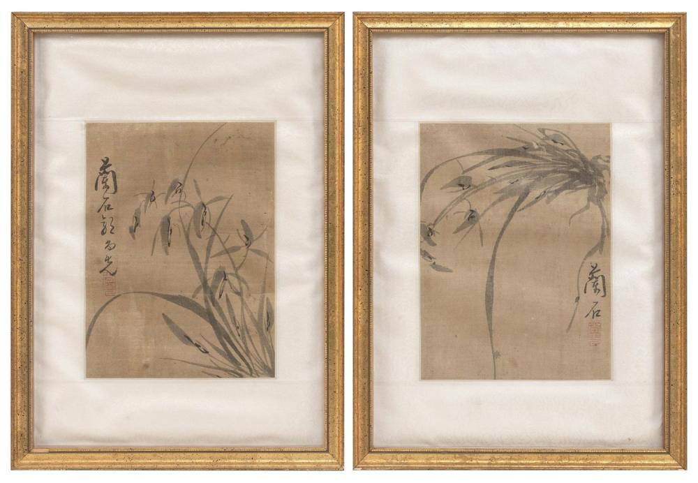 "PAIR OF CHINESE ALBUM PAINTINGS ON SILK Depicting iris. Signed and seal marked. 9"" x 6.75"". Framed 16.25"" x 12""."