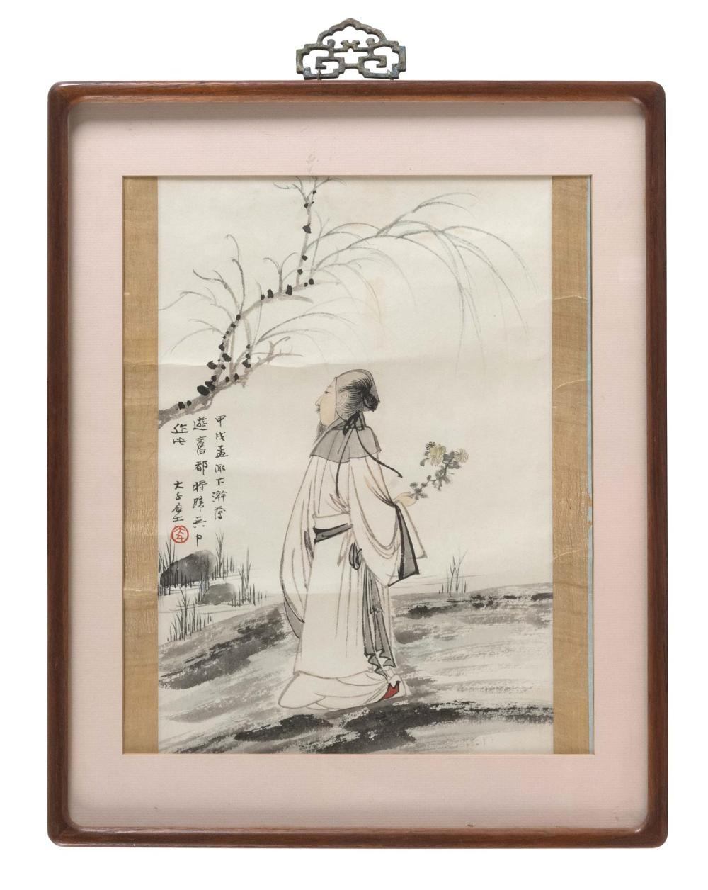 CHINESE PAINTING ON PAPER In the manner of Zhang Daqian. Depicting a scholar with the first blossom of spring walking past a willow...