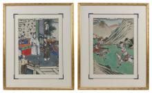 Lot 1090: SET OF FOUR CHINESE PAINTINGS ON SILK Depicting a judgment scene, warriors on horseback, a punishment scene, and figures caught in a...