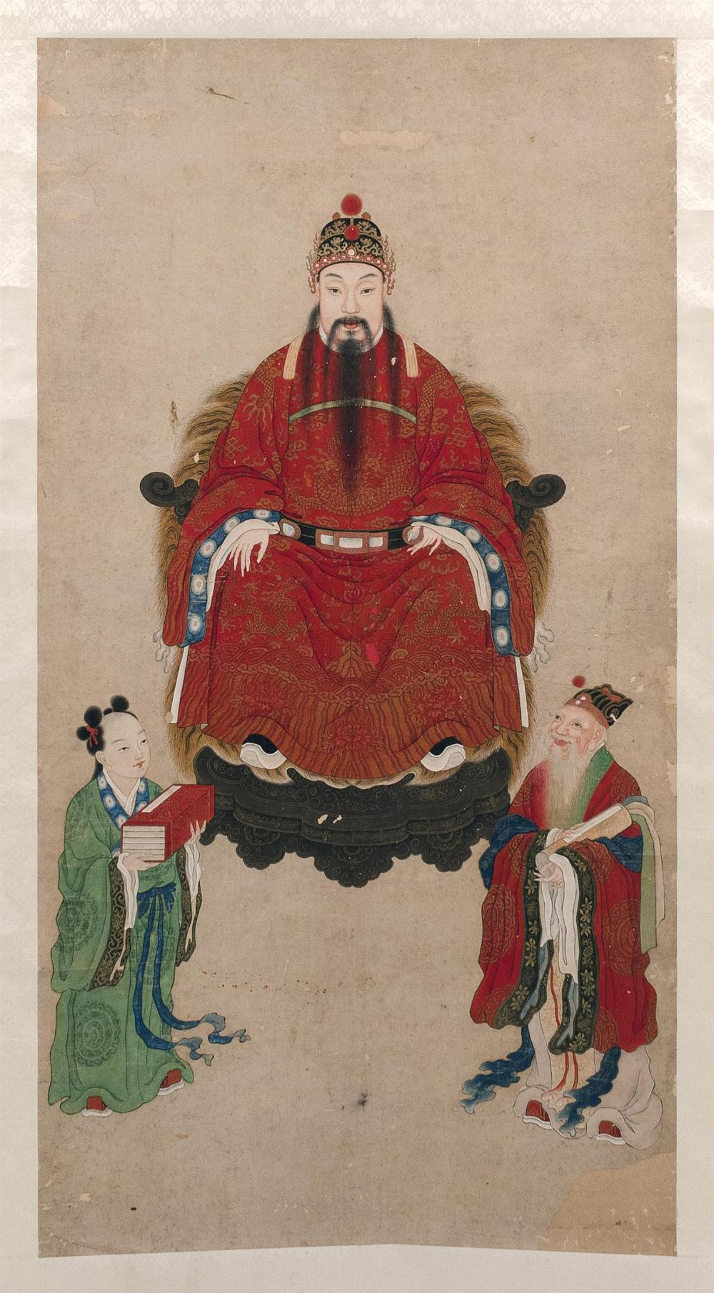 "CHINESE ANCESTRAL SCROLL PAINTING ON PAPER Depicting an imperial figure and two attendants. 45"" x 23.5""."