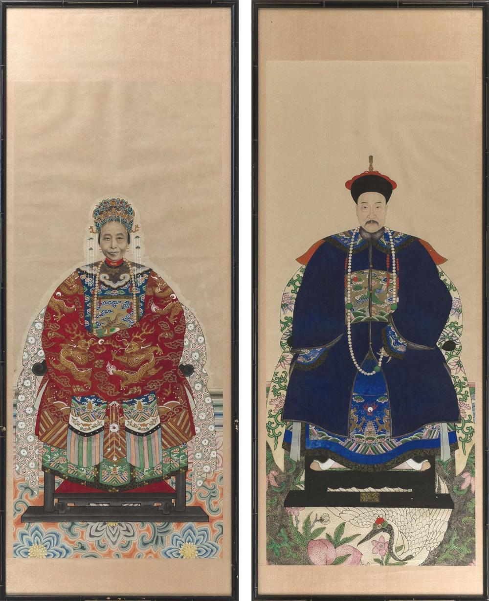 TWO CHINESE ANCESTRAL PORTRAITS ON PAPER Depicting a Mandarin and his wife, both seated on altar chairs, with a crane and peaches be...
