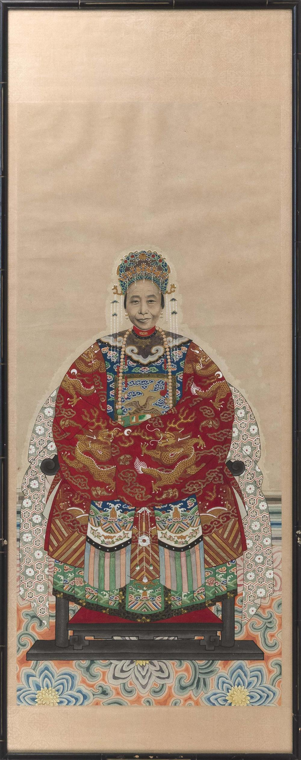 Lot 1092: TWO CHINESE ANCESTRAL PORTRAITS ON PAPER Depicting a Mandarin and his wife, both seated on altar chairs, with a crane and peaches be...