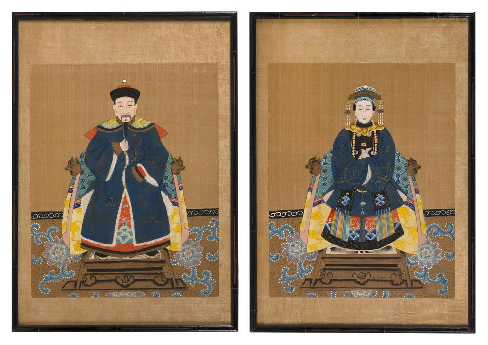 "TWO CHINESE ANCESTRAL PORTRAITS ON SILK Depicting a Mandarin and his wife. 15"" x 12"". Framed 20.5"" x 14.5""."