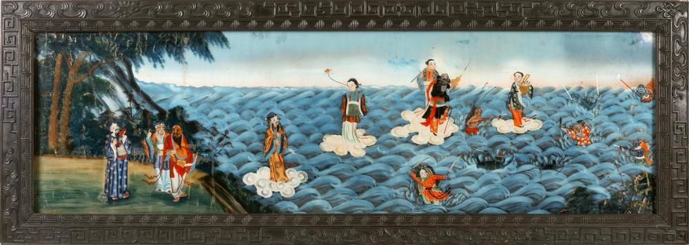 CHINESE EXPORT REVERSE PAINTING ON GLASS OF IMMORTALS An engaging scene of the Eight Immortals, five floating on white fluffy clouds...