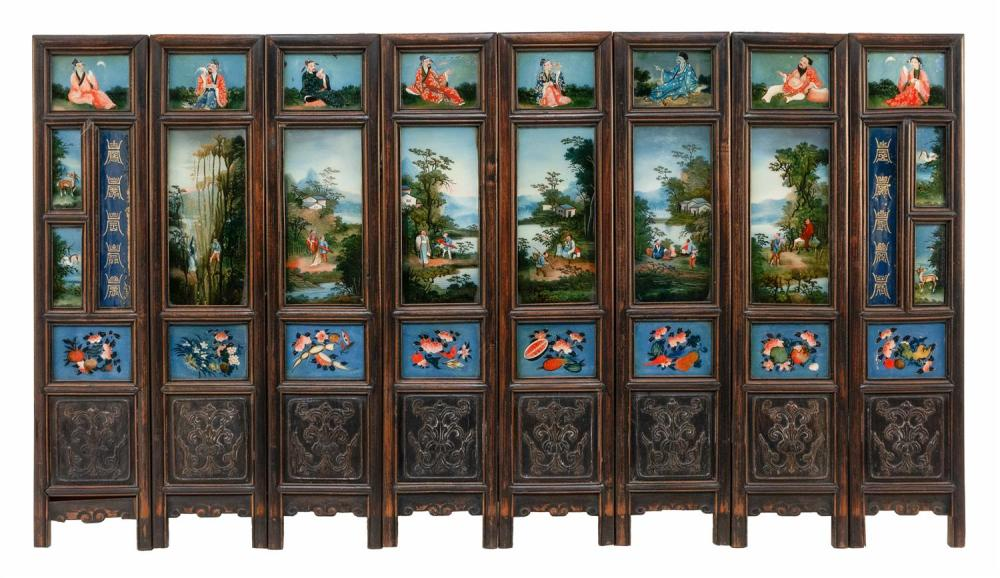 CHINESE EIGHT-PANEL REVERSE-PAINTED GLASS SCREEN The top panels depict the eight Immortals, the middle panels depict figures in land...