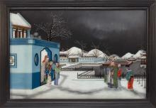 """Lot 1099: CHINESE REVERSE PAINTING ON GLASS Depicting a winter courtyard scene with figures. 20"""" x 30"""". Framed 23"""" x 33""""."""