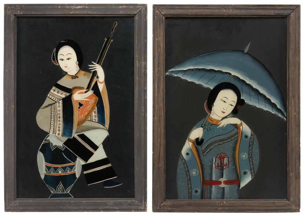 "TWO CHINESE REVERSE PAINTINGS ON GLASS Depicting portraits of young women, one with a parasol and one with a lute. 20"" x 13"". Framed..."